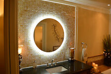 "MAM2D32-32"" Round side lighted vanity mirror - wall mounted - LED, makeup mirror"
