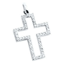 SMALL 14K WHITE GOLD NATURAL PAVE DIAMOND CROSS RELIGIOUS PENDANT CHARM NECKLACE