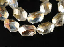 8Ps Glass Crystal Oval Hexagon Bead 18x12mm Spacer Jewelry Beautiful Lt Citrine