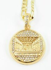 "CELEBRITY Small Gold Plated Last Supper Pendant 24""Chain 35mm Charm Set#9"