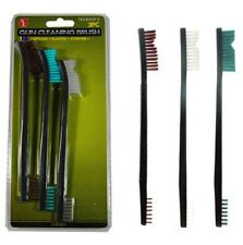 "New 3pc 7"" Double Ended Gun Cleaning Brush Set - Plastic Nylon & Copper"