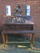 Vintage Antique Asian Oriental Carved Library Reception Home Hotel Office Desk