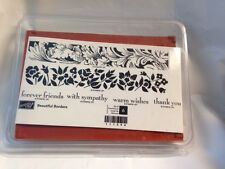 Stampin Up Beautiful Borders 111594 Friends Sympathy Wishes Rubber Stamp Set NEW