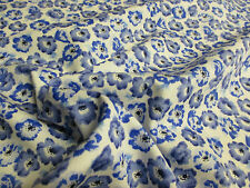 """White/Ivory and Blue """"Blossom""""  Flowers/Floral Print Fabric. 100% Cotton."""