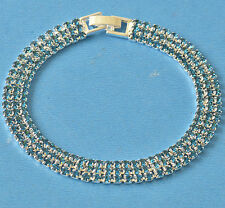 Bright Much Row Blue Cubic Zirconia 9K White Gold Filled Womens Bracelet F5990