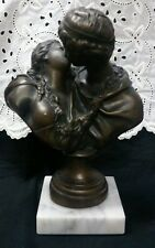 "Vtg. Jean Antoine Houdon bronze finished sculpture ""The Kiss Bestowed"" Reprod."