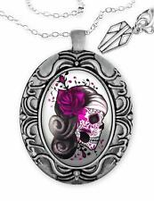 Pink Day of the Dead Sugar Skull Girl Silver Glass Ornate Rose Pendant Necklace