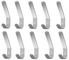 Double Hat and Coat Hooks Aluminium Dress Robe Garment Hangers Hook x 10