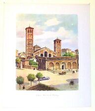 Stampa antica grande MILANO Basilica di Sant'Ambrogio 1950 Old antique print