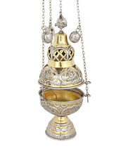 Nickel and Gold Plated Orthodox Christian Church Liturgical Thurible Censer