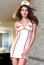 Naughty Nurse Mesh Doctor Roleplay Hospital Chemise Lingerie Set Headpiece 8756