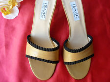 B.NEW AUTH.ISAAC MIZRAHI ITALY SEXY LEATHER OPEN TOE HEELS MULES SHOES 8M