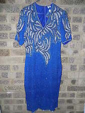 blue & silver vintage sequin beaded silk dress