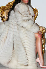 SPLENDID FULL LENGTH POLAR BLUE REAL SAGA FOX WHITE FUR LONG COAT JACKET DELUXE!