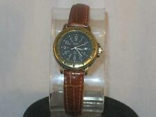 LADIES PULSAR ANALOG WATCH BLACK FACE,WHITE HANDS,NUMBERS,DATE & BROWN BAND P199
