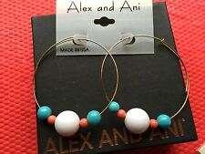 NWT ALEX and ANI INTL VINTAGE Coral WHITE Aqua Beaded GOLD Hoop EARRINGS ��