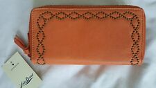 women's Lucky Brand loredo double zip leather wallet tangerine nwt $78 New