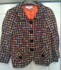 New Sz 10 Heine Boucle Woven Cropped Jacket Coat Black Red White Blue Gift
