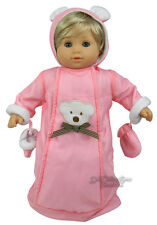 Pink Polar Bear Winter Snowsuit Bunting for Bitty Baby + Twins Doll Clothes