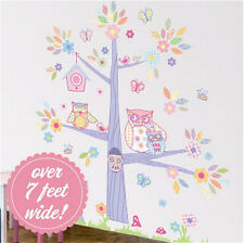 "OWLS in a TREE WALLSCAPE wall stickers MURAL 90+ decals leaves flower 83""x87"""