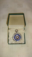 Boxed Sterling Silver/Enamel/Gold Football League Watch Fob / Medal - 1927