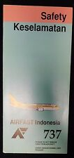 AirFast Indonesia Airlines 737 Rare Emergency Safety Card