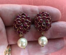 Vintage 18ct Ruby Diamond Pearl Earrings.Super Jaipur Green Enamel.30cts total !
