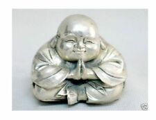 Details about  Chinese tibet silver carved happy buddha figurine