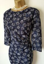 PHASE EIGHT Navy Blue Lace Dress 18 BNWT Spot Stretch Wiggle Party Christmas