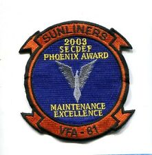 VFA-81 SUNLINERS 03 MAINTENANCE AWARD US NAVY F-18 HORNET Fighter Squadron Patch