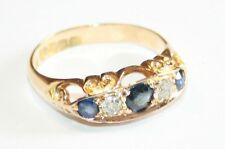 Antique 18ct Gold Sapphire & Diamond 5-Stone Carved Ring Circa 1911/12 size N1/2