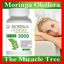 3X BOTTLE OF NATURAL ORGANIC SUPERFOOD Moringa Oleifera Vegetarian 180 Doses