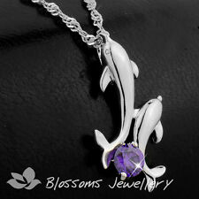 Stamped 925 Sterling SILVER Amethyst DOLPHIN Necklace SWAROVSKI CRYSTAL S1025