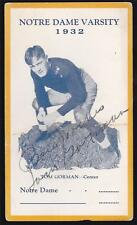 1932 Notre Dame Varsity Football Tom Gorman Signed Postcard Autographed