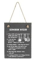 SLATE Gray Kitchen Rules Shabby Hanging Decorative Wall Sign Chic Funny Novelty