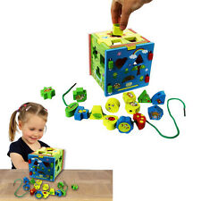 Dazzling Toys Wooden Shape Sorter Cube Baby Toddlers Colored Educational Blocks