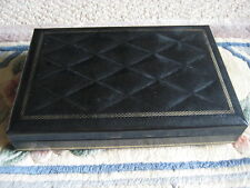 "Vintage Swank Design Philippe Black Leather Jewelry Box, 9"" X 6"" X 1 1/2"""