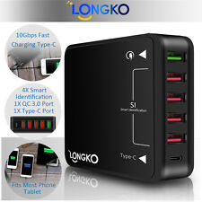 QC3.0 & Type-C Multi-port USB Charger Wall Charging for iOS Android Phone Tablet