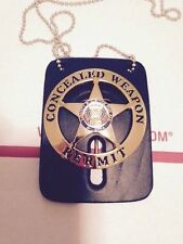 CONCEALED CARRY WEAPONS PERMIT BADGE GOLD W/FREE LEATHER & NECKCHAIN 2.25""