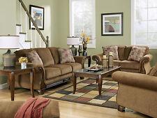 CELIO - Wood Trim Brown Microfiber Sofa Couch Loveseat Set Living Room Furniture
