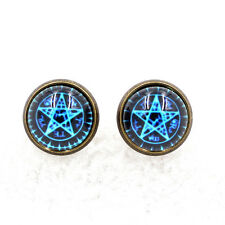 Witchcraft Pentagram Star Pentacle Glass Art Ear Studs Wiccan Pagan Earrings