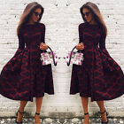UK Womens Long Sleeve Sexy Lace Printed Evening Party Bodycon Short Midi Dress