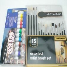 OIL PAINTS AND BRUSHES SET TUBES PAINTING AIR PAINTER SUPPLIES FINE COLORS KIT