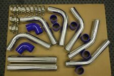 BLUE/CHROME ALUMINUM TURBO INTERCOOLER PIPING KIT 8PCS TURBOCHARGER SUPERCHARGER