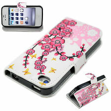 Luxury Flower Flip Leather Wallet Rubber Case Cover For Apple iPhone 4 4S 4G