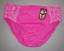 OLGA~3XL 10~GU2711P~Hot Rose Pink Flirty Lace Panel Hipster Panty