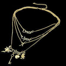 Fashion Chain Gift Once Upon A Time Letter Multilayer Statement Pendant Necklace