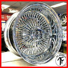 14x7 REV 100 SPOKE WIRE WHEELS STRAIGHT LACE CHROME RIMS (4pcs)