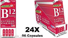 Genuine Stacker 2 B12 Extreme Energy 24 Blister Packs x 4 Caps (96 Capsules )