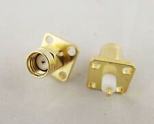 RP-SMA Male Chassis Panel Mount 4 Hole Panel Flange Solder RF Connector Adapter